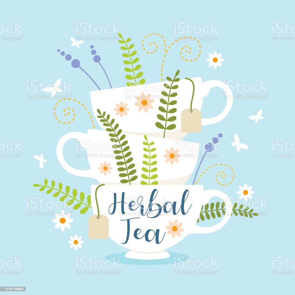 Herbal Tea Cups Stack With Leaves And Flowers Vector Illustration Stock Illustration Download Image Now Istock
