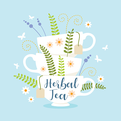 Herbal tea cups stack with leaves and flowers vector illustration