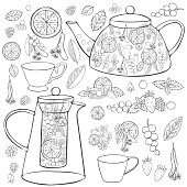 Herbal tea set. Vector sketch  illustration.