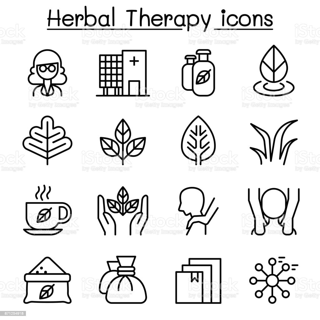 Herbal Therapy & Spa icon set in thin line style vector art illustration