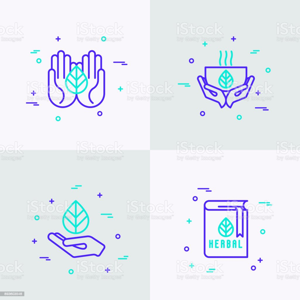 Herbal therapy thin line icons set: hands with leave, cup of tea, recipe book. Modern vector illustration. vector art illustration