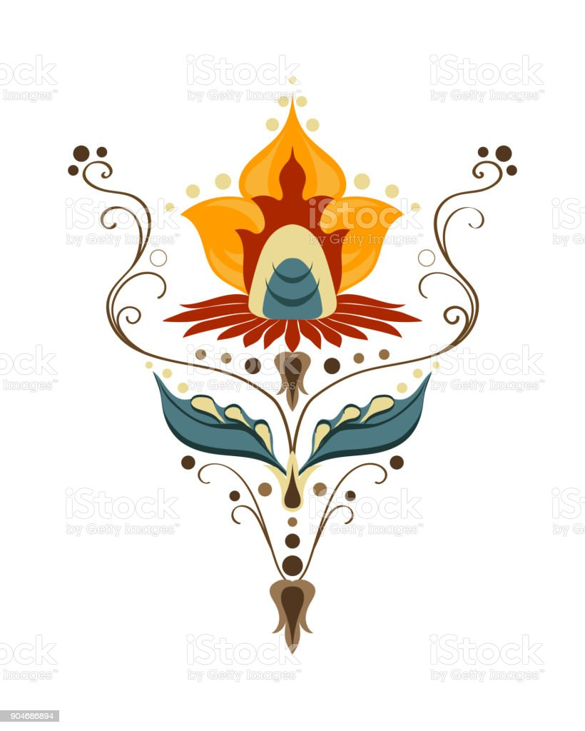 Herbs And Gorgeous Flower For Design Ornament Red Sea Blue Orange