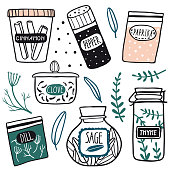 Herbs and spices jars icon set: cinnamon, dill, thyme, sage, clove, pepper. Hand drawn vector kitchen glass bottles and jars. Kitchen line illustration. Doodle style. Isolated on white