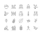 Herbs and spices line icons, linear signs, vector set, outline concept illustration