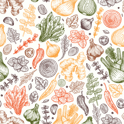 Herbs and spices seamless pattern. Ginger, spinach, onion, pepper, garlic, fennel. Packaging background.