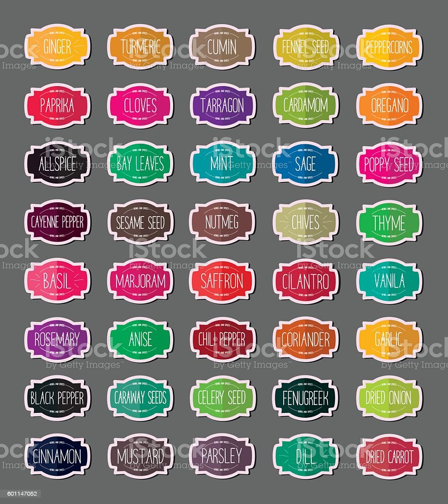Herbs and spices stickers vector art illustration