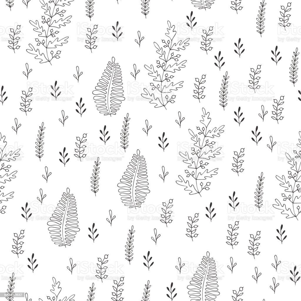 Herbs seamless pattern. Scandinavian background. Nature style. royalty-free herbs seamless pattern scandinavian background nature style stock vector art & more images of art