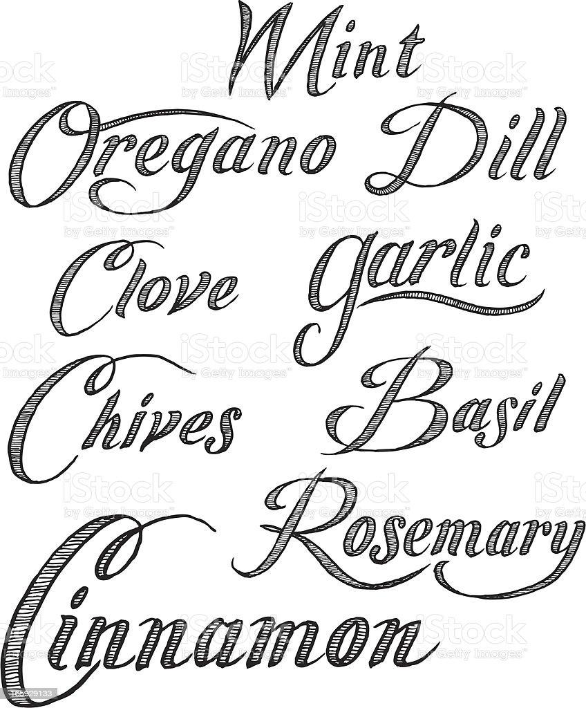 Herbs text - Mint, Oregano, Garlic, Basil, etc. royalty-free herbs text mint oregano garlic basil etc stock vector art & more images of basil