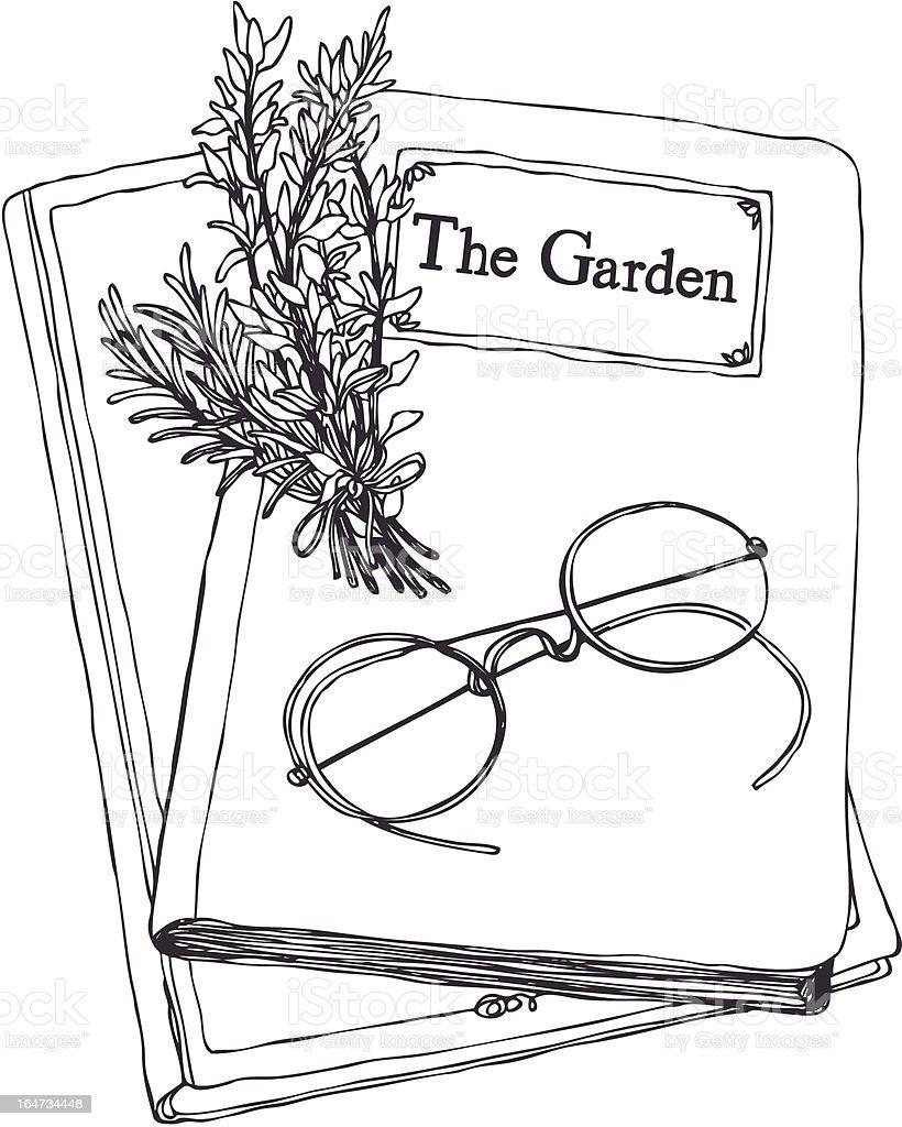 Herbs&books vector art illustration