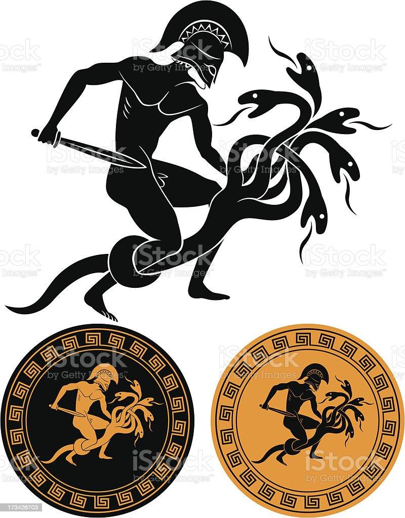 Hercules and Hydra royalty-free stock vector art