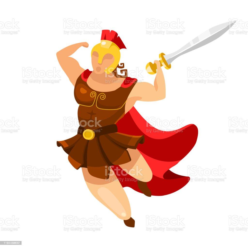 Vetores De Ilustracao Plana Do Vetor De Hercules Gladiador Em Pose