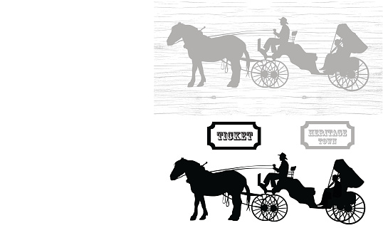 Heritage TownHorse Carriage Rides Silhouette Vector