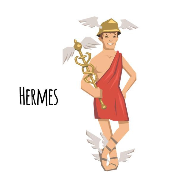 illustrazioni stock, clip art, cartoni animati e icone di tendenza di hermes, ancient greek god of roadways, travelers, merchants and thieves, messenger of the gods. mythology. flat vector illustration. isolated on white background. - ancient medical symbol