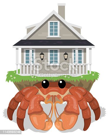 A hermit crab with a large, traditional, human house on its back instead of a shell