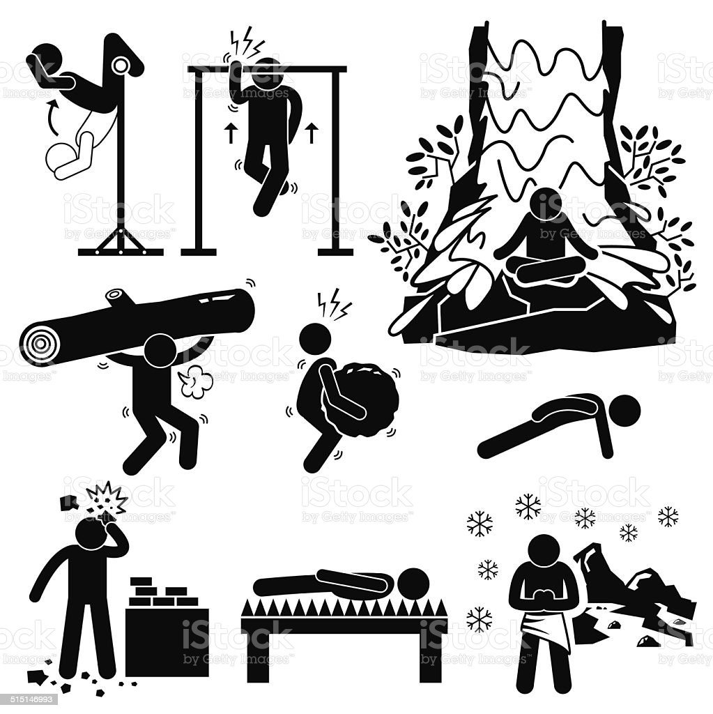 Hermit Extreme Physical and Mental Training Stick Figure Pictogram Icons vector art illustration
