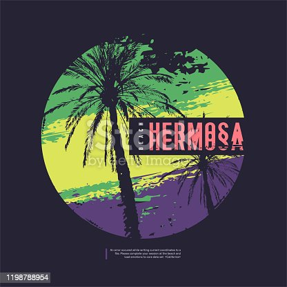 istock Hermosa California vector graphic t-shirt design, poster, print 1198788954