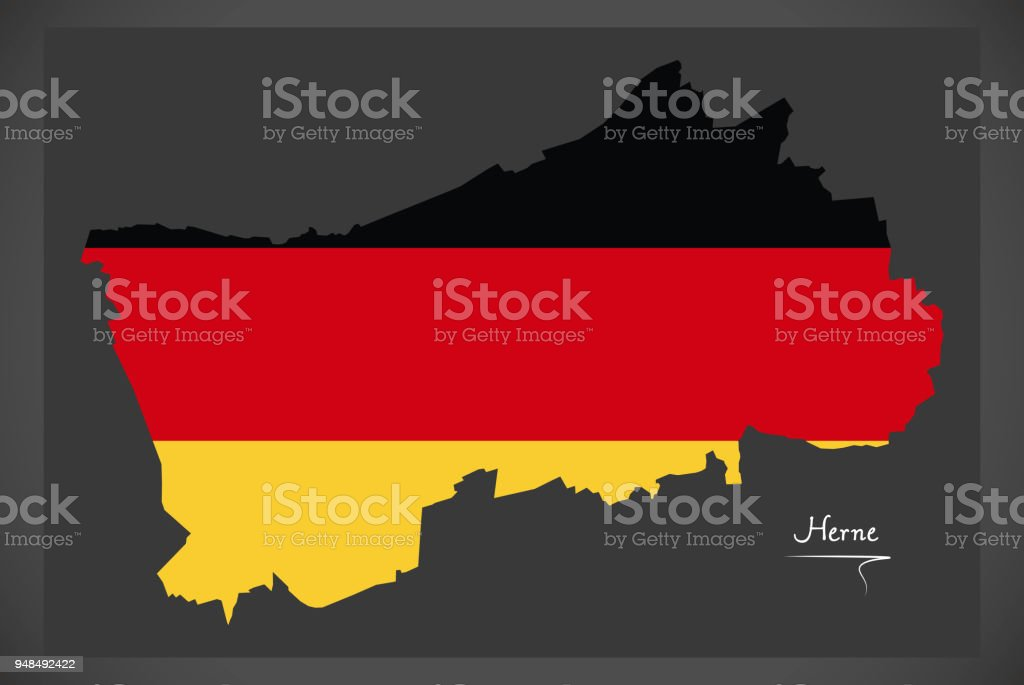 Herne map with German national flag illustration vector art illustration