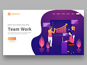 Hero banner or website template design with business people defining growth statistical chart together for teamwork concept.