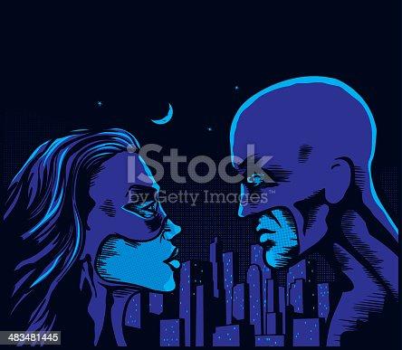 Moonlit retro superheroes