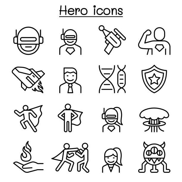 細い線のスタイルでヒーローのアイコンを設定 - 漫画のモンスター点のイラスト素材/クリップアート素材/マンガ素材/アイコン素材