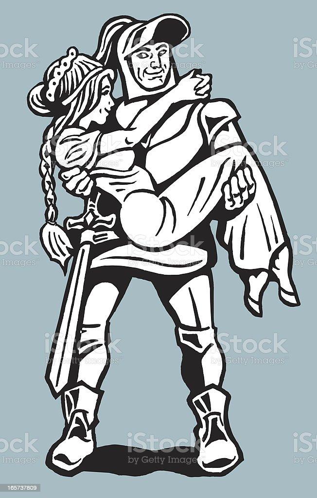 Ilustración de Hero Knight Y Damisela Necesitados y más banco de ...