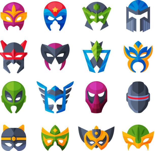 hero mask vector superhero face masque and masking cartoon character illustration set of powerful masked symbol isolated on white background - mask stock illustrations