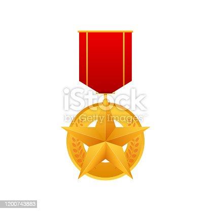 Hero of the Soviet Union gold star award. Illustration on white background. Vector stock illustration