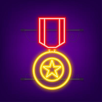 Hero of the Soviet Union gold star award. Neon icon. Motion graphics.