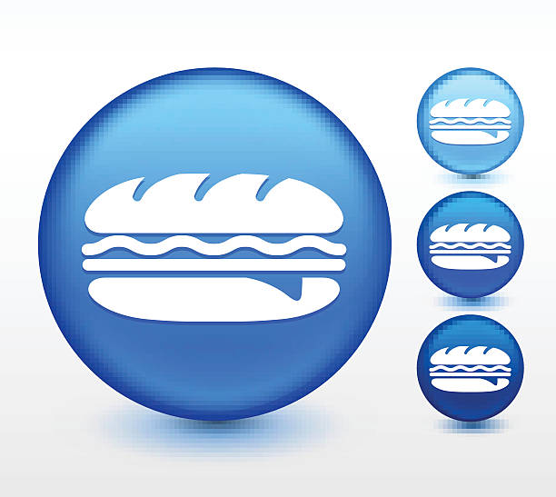 hero sandwich on blue round button - sub sandwich stock illustrations, clip art, cartoons, & icons