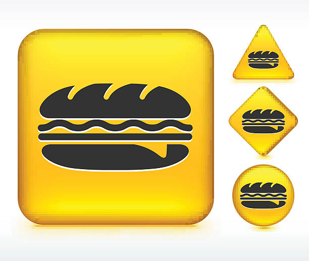 hero sandwich on yellow buttons - sub sandwich stock illustrations, clip art, cartoons, & icons