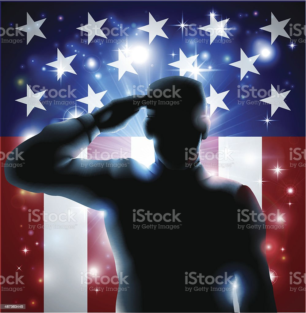 Hero Soldier and Stars and Stripes vector art illustration