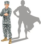 Hero soldier concept. A conceptual illustration of a military soldier standing with his shadow in the shape of a superhero