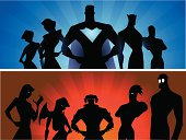A silhouette illustration of two extraordinary team, the Heroes and the Super Villains. Perfect for website header or Facebook Cover.