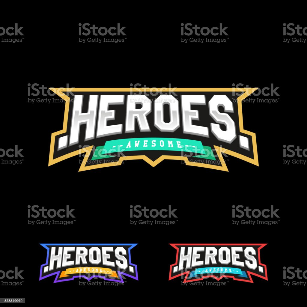 Heroes or Superhero sport text icon. Vector, isolated for t-shirt typography in retro style emblem vector art illustration