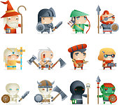 Heroes Villains Minions Fantasy RPG Game Character Vector Icons Set Vector Illustration