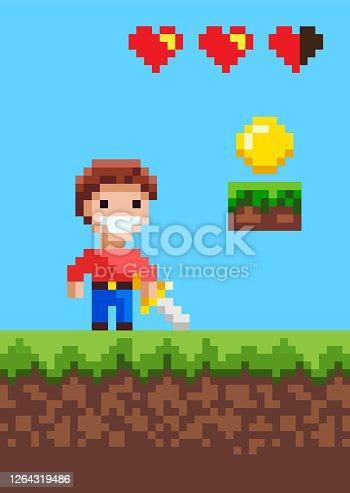 istock Heroic Man Character of Pixel Game with Sword 1264319486