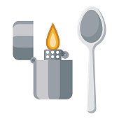 istock Heroin Addiction Icon on Transparent Background 1283626634