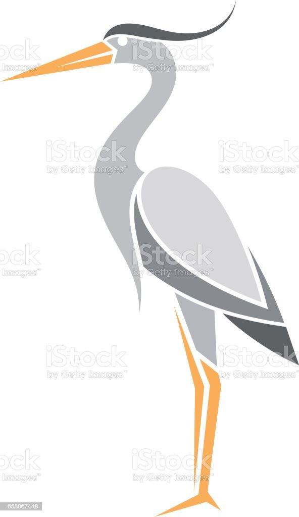 Heron. Abstract bird on white background - illustrazione arte vettoriale