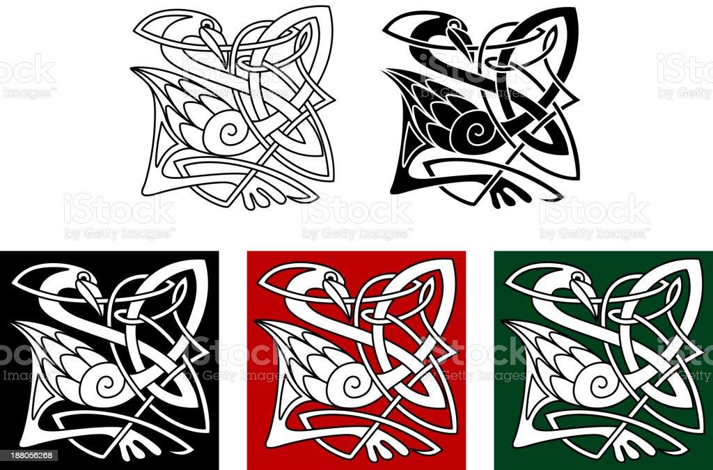 Heron bird in celtic style royalty-free stock vector art
