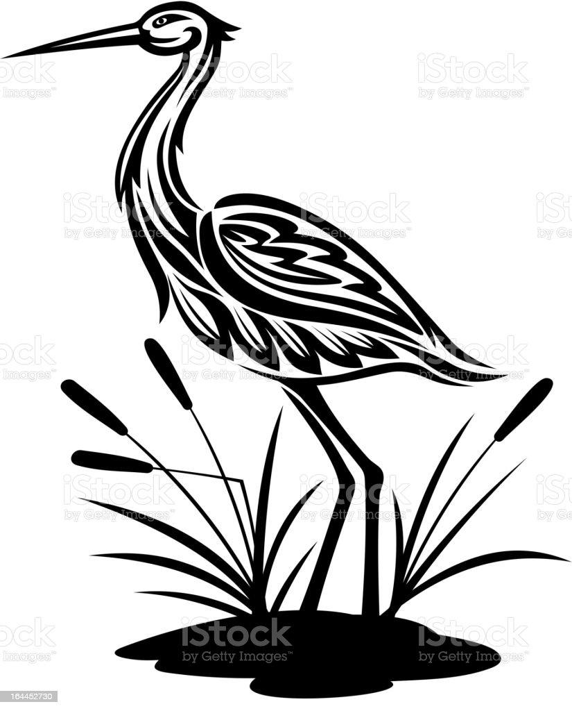 Airone nel paesaggio stagno - illustrazione arte vettoriale