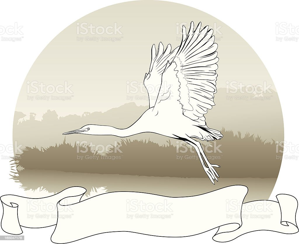 Heron Scroll vector art illustration