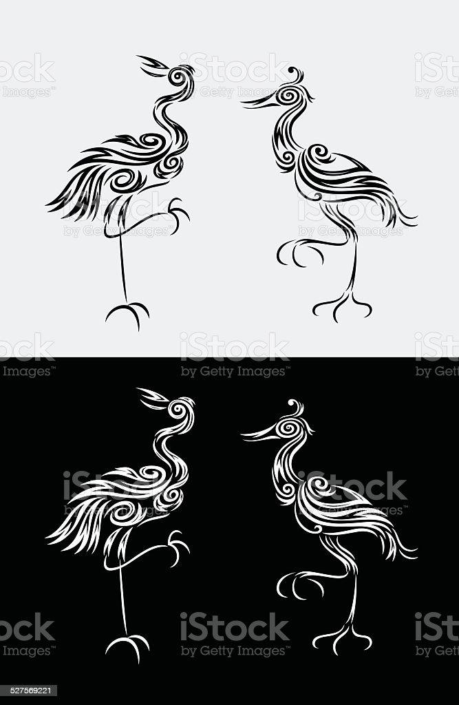 Airone Imposta decorazione - illustrazione arte vettoriale