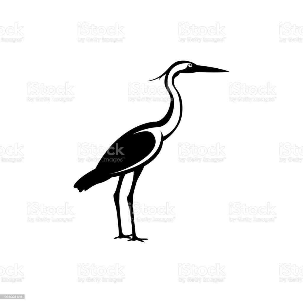 heron silhouette - illustrazione arte vettoriale
