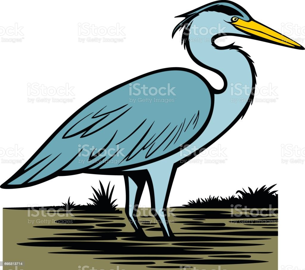 Heron vector art illustration