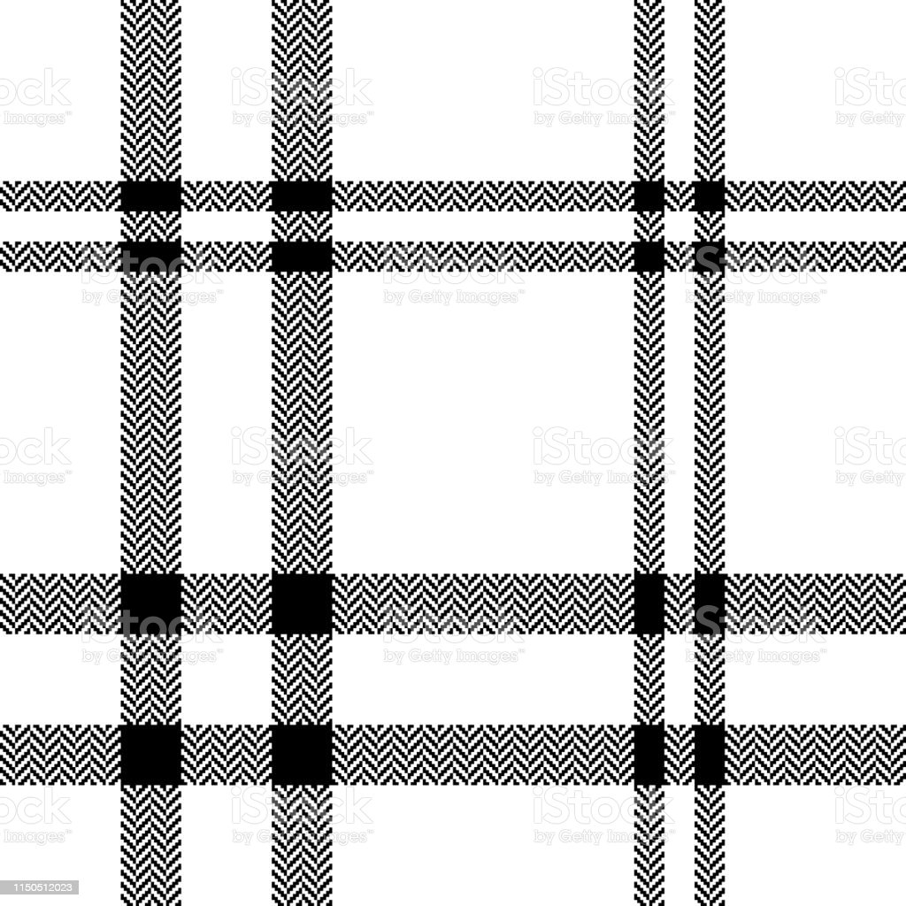 Herringbone check plaid pattern seamless vector in white and black....