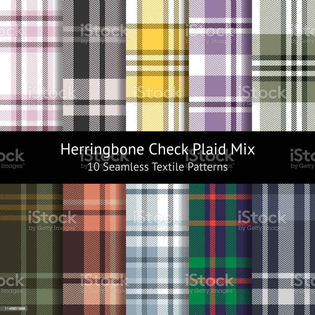 Herringbone check plaid pattern set. Seamless tartan plaid in pink,...