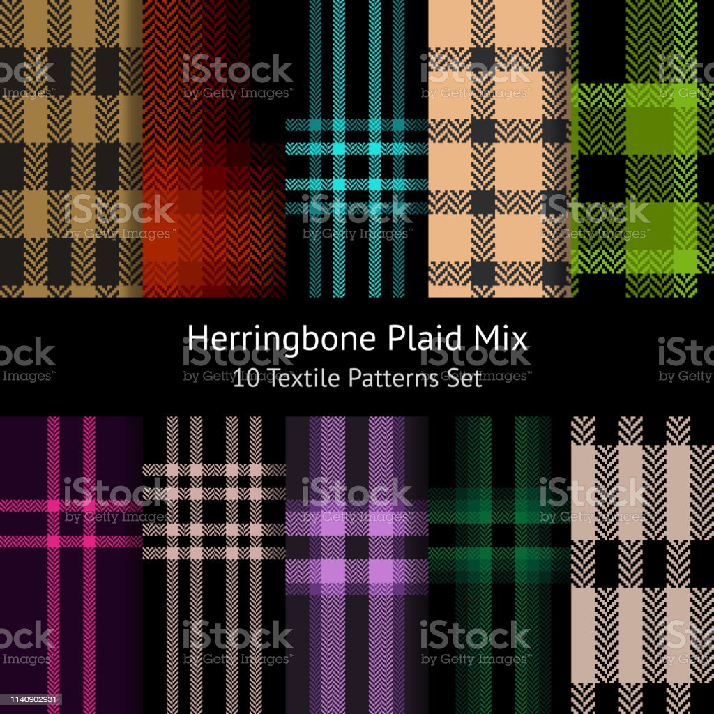 Herringbone pixel plaid pattern collection. Seamless tartan check...