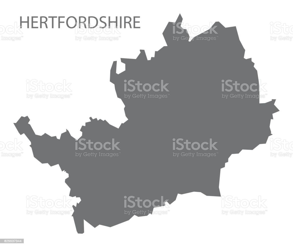 Geographic Map Of England.Hertfordshire County Map England Uk Grey Illustration Silhouette