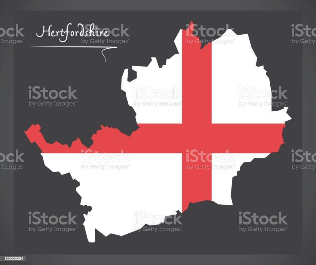 Hertfordshire map England UK with English national flag illustration vector art illustration