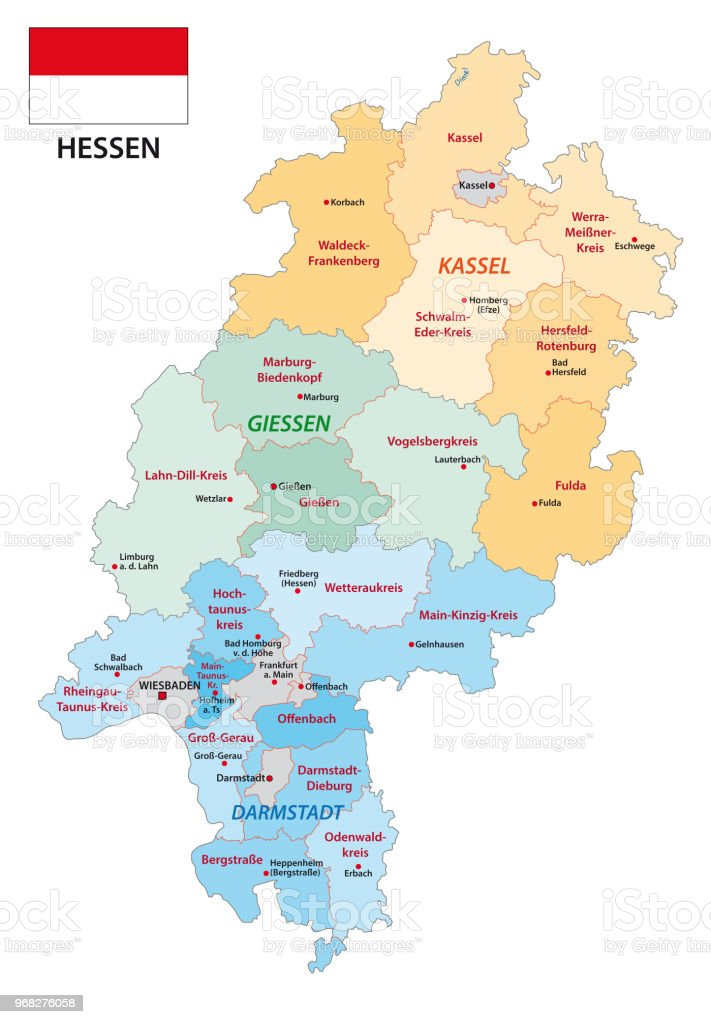 Bad Homburg Germany Map.Hesse Administrative And Political Map With Flag In German Language